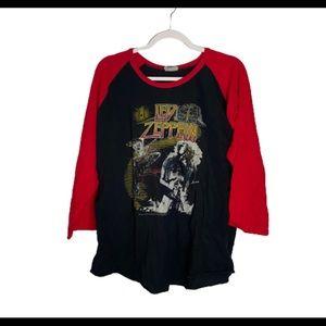 Led Zepplin REPO Band Tshirt Black Red Colorblock